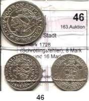 Deutsche Münzen und Medaillen,Aachen, Stadt  III Mark 1728(Schrötlingsfehler); 8 Mark 1753 und 16 Mark 1752.  Schön 10, 11 und 12.  LOT 3 Stück.