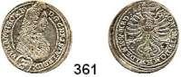 Deutsche Münzen und Medaillen,Schlesien - Württemberg - Oels Christian Ulrich von Württemberg - Oels 1664 - 1704 3 Kreuzer 1696, Oels.  1,72 g.  F.u.S. 2406.