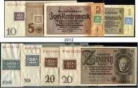 P A P I E R G E L D,D D R  Kuponserie 1948.  1 DM bis 100 DM (2x 20 DM).  SBZ-1 b, 2 b, 4 b, 5 c, 6 c, 7, 8 d, 9 a.  SATZ 8 Scheine.