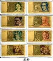 P A P I E R G E L D,BUNDESREPUBLIK DEUTSCHLAND  Die DM Banknoten in reinstem Gold.  Zum großen Währungs-Jubiläum
