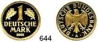 B U N D E S R E P U B L I K,  1 Deutsche Mark 2001 A.  (12g FEIN).  Goldene Abschiedsprägung der Deutschen Bundesbank zum Ende der DM.  GOLD