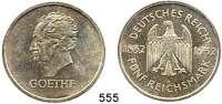 R E I C H S M Ü N Z E N,Weimarer Republik  5 Reichsmark 1932 D.  Jaeger 351.  Goethe.