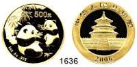 AUSLÄNDISCHE MÜNZEN,China Volksrepublik seit 1949 500 Yuan 2006.  (31,1g fein, Goldunze).  Zwei Pandas mit Bambuszweigen.  Schön 1512.  KM 1657.  Fb. B 14.  Verschweißt. GOLD