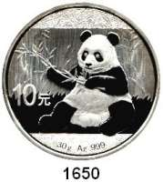 AUSLÄNDISCHE MÜNZEN,China Volksrepublik seit 1949 10 Yuan 2017.  Panda mit Zweig.