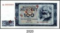 P A P I E R G E L D,D D R  100 Mark 1964. Mit rotem Aufdruck