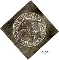 R E I C H S M Ü N Z E N,Sachsen, Königreich Friedrich August III. 1904 - 1918 Moderne Silberklippe (925) der Vorderseite des 3 Markstückes von 1917.  Friedrich der Weise.  42 x 42 mm.  20 g.  Zu Jaeger 141.
