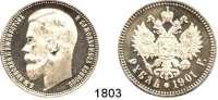 AUSLÄNDISCHE MÜNZEN,Russland Nikolaus II. 1894 - 1917 Rubel 1901 (Zaleman).  Bitkin 53.  Schön 13.  Y. 59.3.