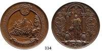 Deutsche Münzen und Medaillen,Sachsen Albert 1873 - 1902 Bronzemedaille 1889 (Diller).  800jährige Jubelfeier des Sächs. Königshauses.  Stammschloß Wettin. / Steh. König in Portal.  50 mm.  49,74 g.