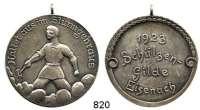 M E D A I L L E N,Schützen Eisenach Versilberte Medaille mit Öse 1923.  Schützengilde - Haltet aus im Sturmgebraus.  39,3 mm.  21,02 g.