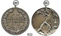 M E D A I L L E N,Schützen Eisenach Silbermedaille 1928 (Oertel).  Prämie der Schützengilde.  Schrift im Lorbeerkranz. / Gewehr und Wappenschild an Eiche.  Randpunze