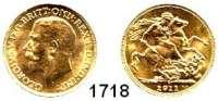 AUSLÄNDISCHE MÜNZEN,Kanada Georg V. 1910 - 1936 Sovereign 1911 C.  (7,32g fein).  Schön 309(GB).  KM 20.  Fb. 2.  GOLD