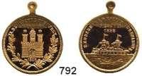 M E D A I L L E N,Städte Hamburg Bronzemedaille mit angeprägter Öse 1898.  Kieler Turnfahrt zum IX. Deutschen Turnfest.  Hamburger Stadttor. / Schiff.  24,6 mm.  6,4 g.
