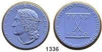 MEDAILLEN AUS PORZELLAN,Staatliche Porzellan-Manufaktur MEISSEN Meissen 1935 blaues Porzellan mit Goldrand.  225 Jahre Manufaktur II.