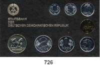 Deutsche Demokratische Republik,K U R S S Ä T Z E  Minisatz 1984.  1 Pfennig bis 2 Mark und Medaille