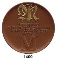 MEDAILLEN AUS PORZELLAN,Staatliche Porzellan-Manufaktur MEISSEN Meissen 1986 braun (64 mm).  BFA Numismatik Dresden.