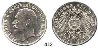 R E I C H S M Ü N Z E N,Baden, Großherzogtum Friedrich II. 1907 - 1918 5 Mark 1913.  Jaeger 40.