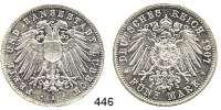 R E I C H S M Ü N Z E N,Lübeck, Freie und Hansestadt  5 Mark 1907.  Jaeger 83.
