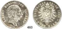 R E I C H S M Ü N Z E N,Sachsen, Königreich Albert 1873 - 1902 5 Mark 1889.  Jaeger 122.