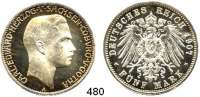 R E I C H S M Ü N Z E N,Sachsen - Coburg und Gotha Carl Eduard 1900 - 1918 5 Mark 1907.  Jaeger 148.