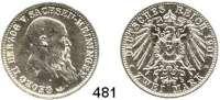 R E I C H S M Ü N Z E N,Sachsen - Meiningen Georg II. 1866 - 1914 2 Mark 1901.  Jaeger 149.  75. Geburtstag.