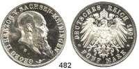 R E I C H S M Ü N Z E N,Sachsen - Meiningen Georg II. 1866 - 1914 5 Mark 1901.  Jaeger 150.  75. Geburtstag.