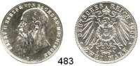 R E I C H S M Ü N Z E N,Sachsen - Meiningen Georg II. 1866 - 1914 2 Mark 1902.  Jaeger 151 b.