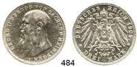 R E I C H S M Ü N Z E N,Sachsen - Meiningen Georg II. 1866 - 1914 3 Mark 1908.  Jaeger 152.
