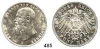 R E I C H S M Ü N Z E N,Sachsen - Meiningen Georg II. 1866 - 1914 5 Mark 1908.  Jaeger 153 b.