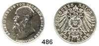 R E I C H S M Ü N Z E N,Sachsen - Meiningen Bernhard III. 1914 - 1918 2 Mark 1915.  Jaeger 154.  Auf den Tod seines Vaters.