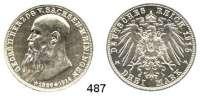 R E I C H S M Ü N Z E N,Sachsen - Meiningen Bernhard III. 1914 - 1918 3 Mark 1915 .  Jaeger 155.    Auf den Tod seines Vaters.