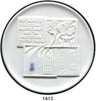 MEDAILLEN AUS PORZELLAN,Staatliche Porzellan-Manufaktur MEISSEN Meissen 1989 weiß (79 mm).  10 Jahre Städtepartnerschaft Arita - Meißen.