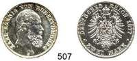 R E I C H S M Ü N Z E N,Württemberg, Königreich Karl 1864 - 1891 2 Mark 1877.  Jaeger 172.