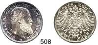 R E I C H S M Ü N Z E N,Württemberg, Königreich Wilhelm II. 1891 - 1918 2 Mark 1908.  Jaeger 174.