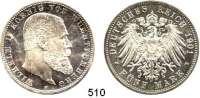R E I C H S M Ü N Z E N,Württemberg, Königreich Wilhelm II. 1891 - 1918 5 Mark 1901.  Jaeger 176.