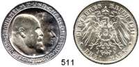 R E I C H S M Ü N Z E N,Württemberg, Königreich Wilhelm II. 1891 - 1918 3 Mark 1911.  Jaeger 177 a.  Silberhochzeit.