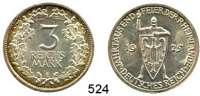 R E I C H S M Ü N Z E N,Weimarer Republik  3 Reichsmark 1925 E.  Jaeger 321.  Rheinlande.