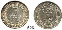 R E I C H S M Ü N Z E N,Weimarer Republik  3 Reichsmark 1926 A.  Jaeger 323.  Lübeck.