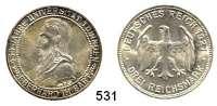 R E I C H S M Ü N Z E N,Weimarer Republik  3 Reichsmark 1927 F.  Jaeger 328.  Tübingen.