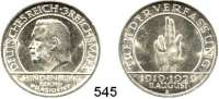 R E I C H S M Ü N Z E N,Weimarer Republik  3 Reichsmark 1929 E.  Jaeger 340.  Schwurhand.