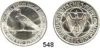 R E I C H S M Ü N Z E N,Weimarer Republik  3 Reichsmark 1930 A.  Jaeger 345.  Rheinlandräumung.