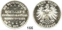 Deutsche Münzen und Medaillen,Frankfurt am Main Freie Stadt 1814 - 1866 Vereinstaler 1859. Schillers 100. Geburtstag.  Kahnt 167.  AKS 43.  Jg. 50.  Thun 139. Dav. 650.
