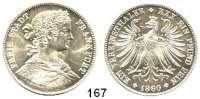 Deutsche Münzen und Medaillen,Frankfurt am Main Freie Stadt 1814 - 1866 Vereinstaler 1860.  Kahnt 168.  AKS 8.  Jg. 41.  Thun 142.  Dav. 649.