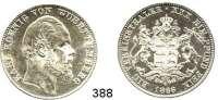 Deutsche Münzen und Medaillen,Württemberg, Königreich Karl 1864 - 1891 Vereinstaler 1866.  Kahnt 592.  AKS 126.  Jg. 85 a.  Thun 440.
