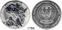 AUSLÄNDISCHE MÜNZEN,Ruanda  50 Francs 2008. (Silberunze).  African Ounce - Gorillafamilie.  Schön. 33.