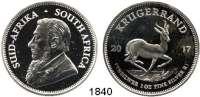 AUSLÄNDISCHE MÜNZEN,Südafrika  1 Silberunze Krugerrand 2017.  50 Jahre Krugerrand.  Im Originaletui mit Zertifikat.