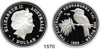 AUSLÄNDISCHE MÜNZEN,Australien Elisabeth II. seit 1952 1 Dollar 1999. (Silberunze).  Kookaburra auf Ast