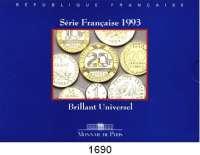 AUSLÄNDISCHE MÜNZEN,Frankreich 5. Republik seit 1958 Kurssatz 1993 (10 Werte).  1 Centime bis 20 Francs.  KM MS 8.  Originalverpackt.