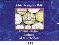 AUSLÄNDISCHE MÜNZEN,Frankreich 5. Republik seit 1958 Kurssatz 1996 (10 Werte).  1 Centime bis 20 Francs.  KM MS 11.  Originalverpackt.