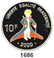 AUSLÄNDISCHE MÜNZEN,Frankreich 5. Republik seit 1958 10 Francs 2000.  100. Geburtstag von Antoine de Saint Exupèry - Der kleine Prinz.  Schön 605.  KM 1263.  Im Originaletui mit Zertifikat.