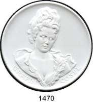 MEDAILLEN AUS PORZELLAN,Staatliche Porzellan-Manufaktur MEISSEN Stolpen 1994/97 weiß (64 mm).  Gräfin Cosel - Burg Stolpen.